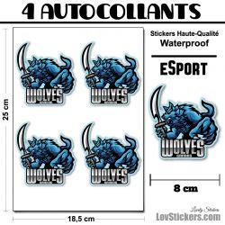 4 Stickers eSport Loup avec Sabre