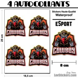 4 Stickers eSport Cow Boy