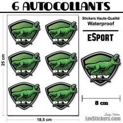 4 Stickers eSport Dino Rex