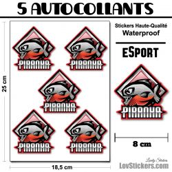 5 Stickers eSport Piranha
