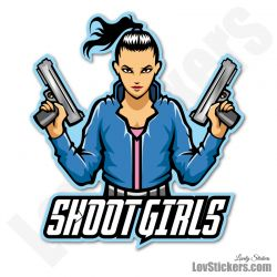 4 Stickers eSport Shoot Girls