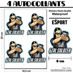 4 Stickers eSport Shoot Girls
