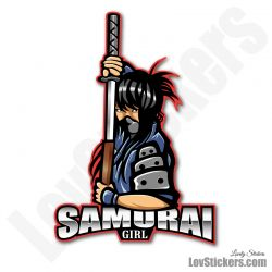 4 Stickers eSport Samourai Girl
