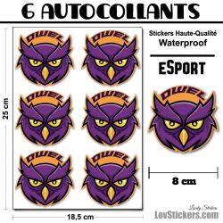 6 Stickers eSport Chouette