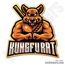 4 Stickers eSport Kung-Fu Rat