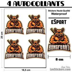 4 Stickers eSport Kung-Fu Rat