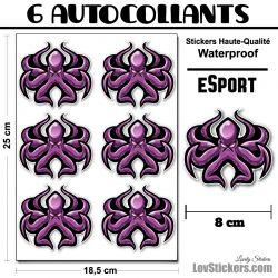 6 Stickers eSport Pieuvre