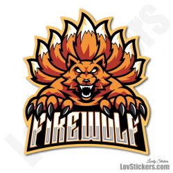 4 Stickers eSport Fire Wolf