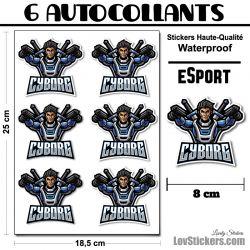 6 Stickers eSport Cyborg