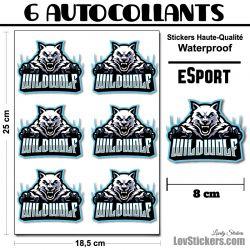 6 Stickers eSport Wild Wolf