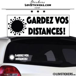 Sticker Gardez vos Distances Covid