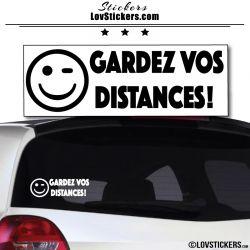 Sticker avec smiley clin d'oeil - Gardez vos Distances