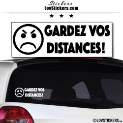 Sticker Gardez vos Distances - Emoticone pas content