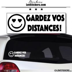 Sticker Gardez vos Distances - Emoticone yeux en forme de coeur
