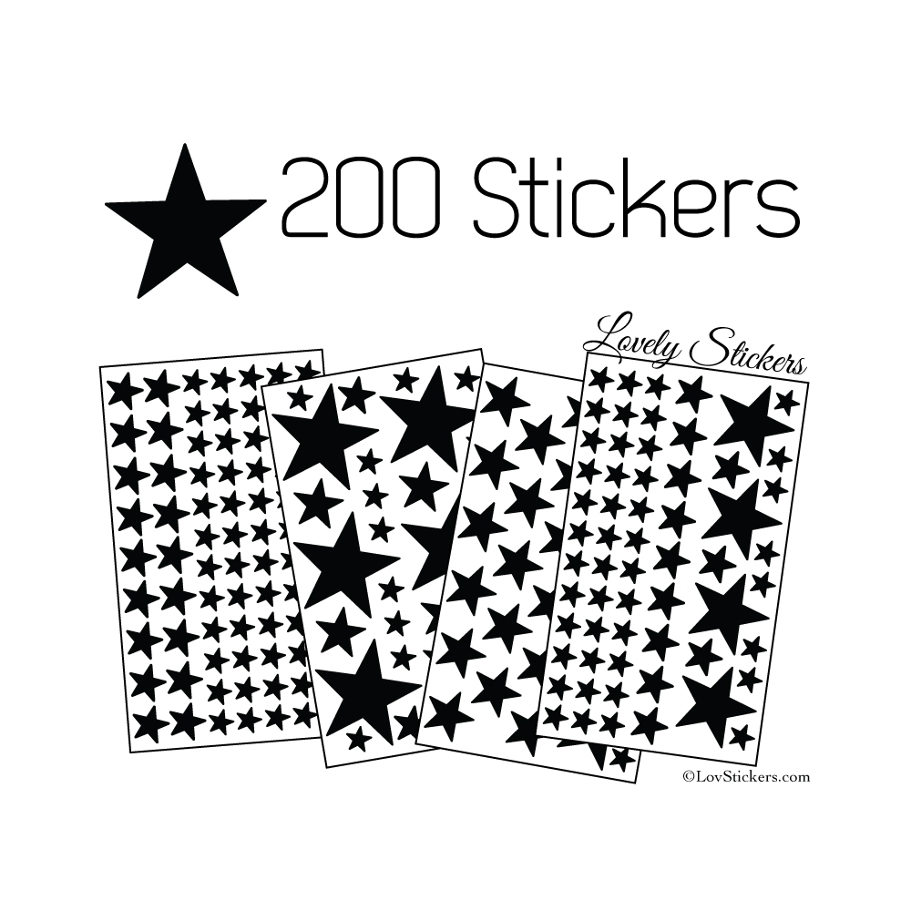 200 Stickers Etoiles - Autocollant decoration
