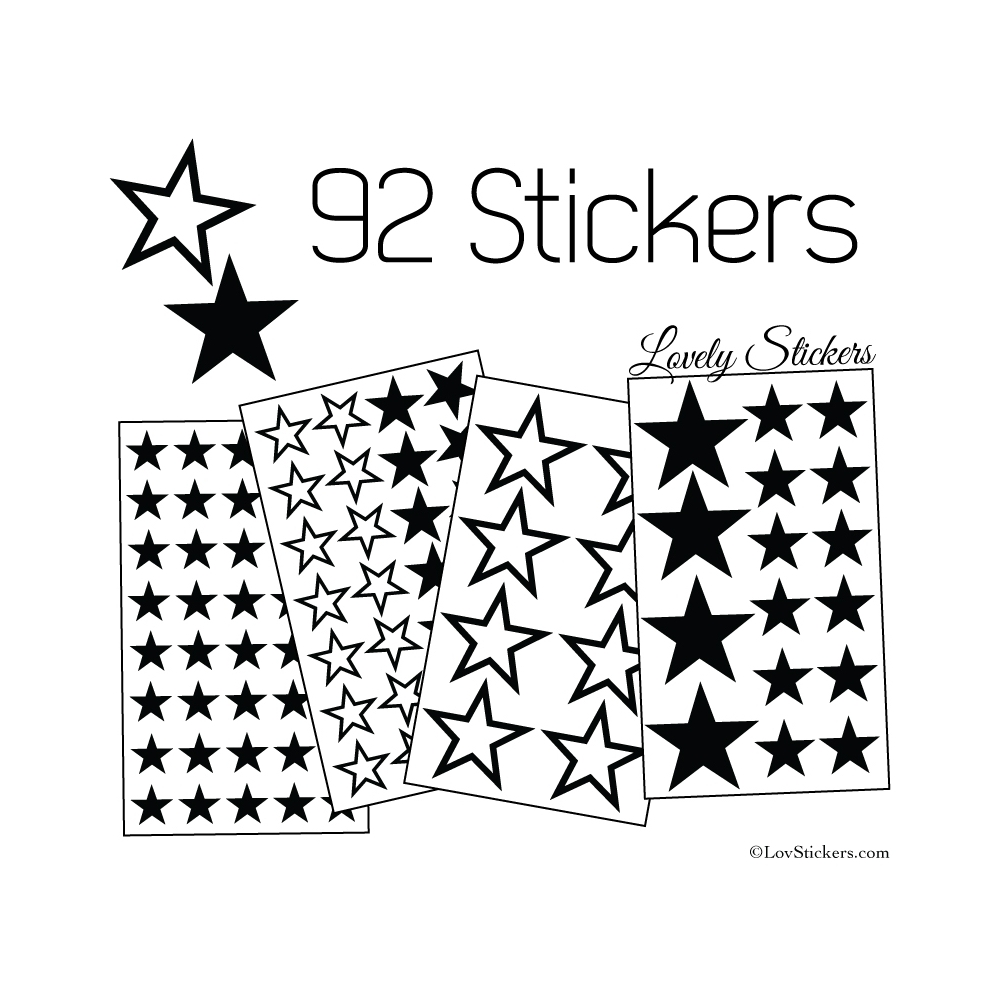 92 Stickers Etoiles Mixte - Autocollant Décoration appartement