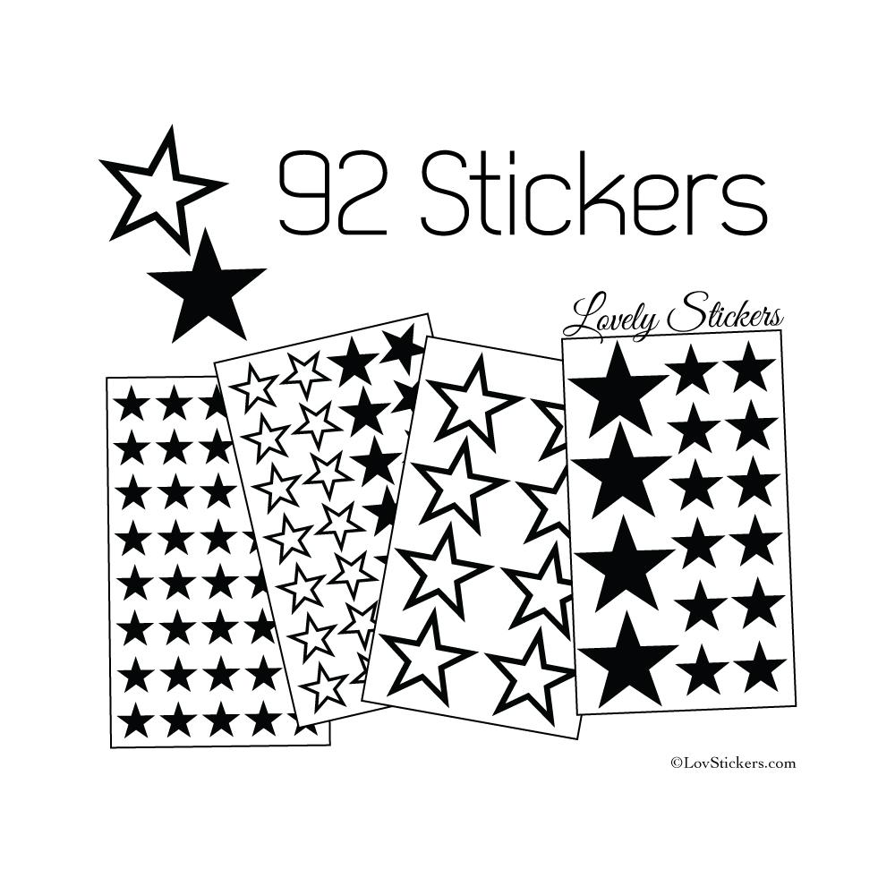 92 Stickers Etoiles Mixte - Autocollant Décoration appartement