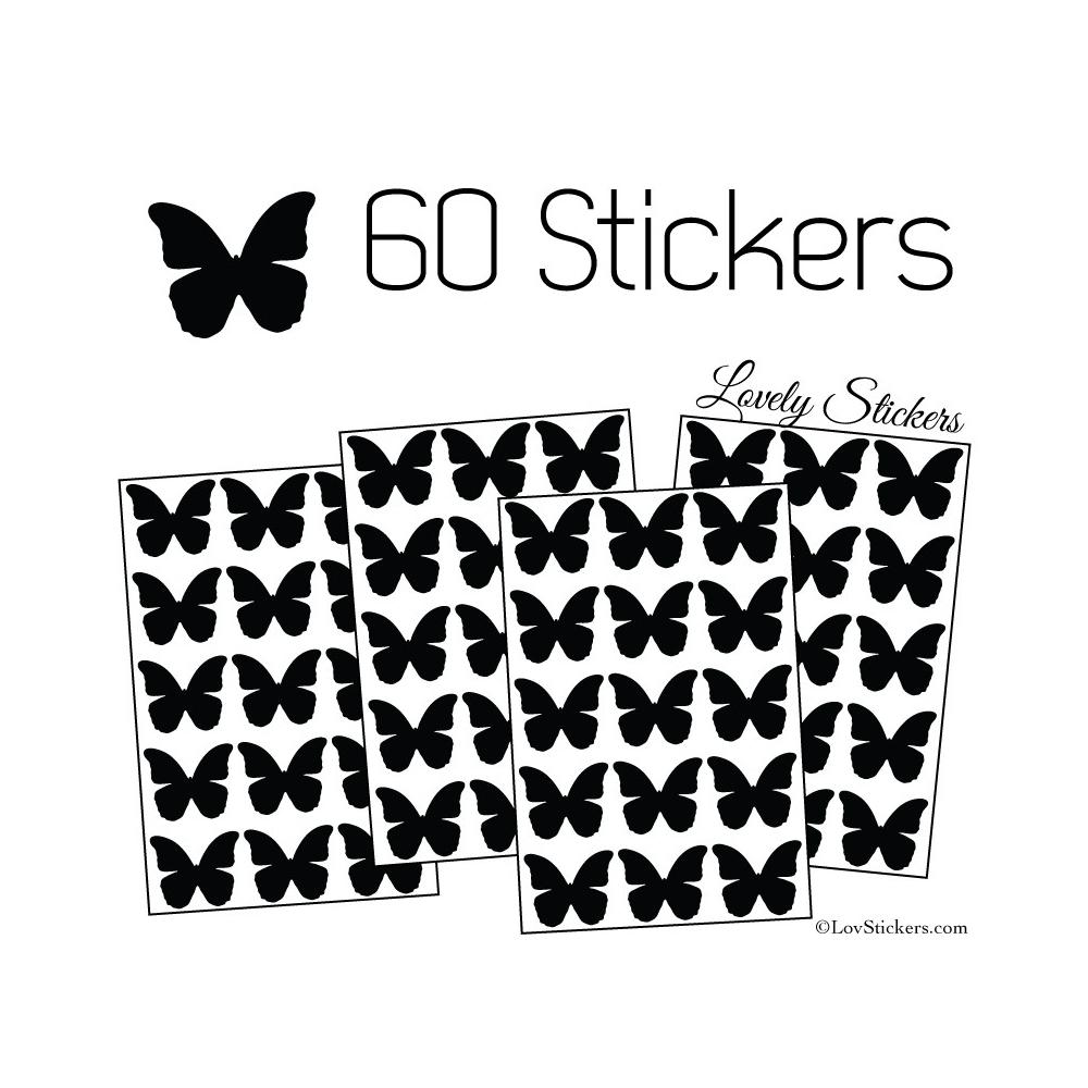 60 Stickers Papillons 3CM - Autocollant decoration