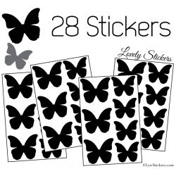 28 Stickers Papillons 5 et 4cm