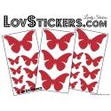 19 Stickers Papillons 10cm à 4cm - Serie décoration Papillons Modèle 2