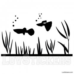 Stickers poisson Guppy - Décoration intérieur en Vinyle - Nombreux coloris