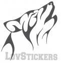 Stickers d'un Loup Hurlant - Tatouage Loup TribalDécoration intérieur en Vinyle - Nombreux coloris