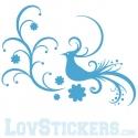 Stickers Oiseau - Composition Floral Tribal - Décoration intérieur en Vinyle - Nombreux coloris
