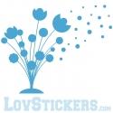 Sticker Bouquet de Fleurs - Abstrait - Décoration intérieur en Vinyle - Nombreux coloris