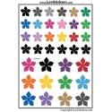 36 Stickers Fleurs Mixte - Serie 5 Petales - Scrapbooking Decoration Gommette Autocollant Vignette
