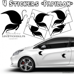 4 Stickers Papillons Mixte - Stickers pas cher discount promo