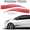 2 Bandes Latérales Tuning Voiture - Stickers Decoration