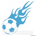 Stickers Ballon de Football en flamme