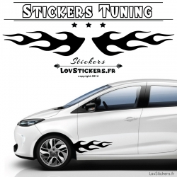 2 Bandes Latérales Flamme 60cm Tuning Voiture  - Stickers Deco auto voiture