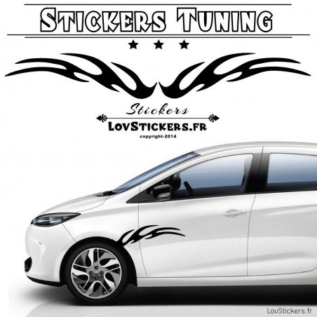 Stickers de decoration tuning voiture vinyle carbon bandes laterale tribal flamme
