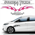 Stickers de decoration tuning voiture vinyle carbon bandes laterale tribal flamme