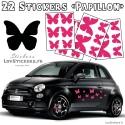 Lot de stickers pour la decoration des voitures motif papillon - autocollant pas cher