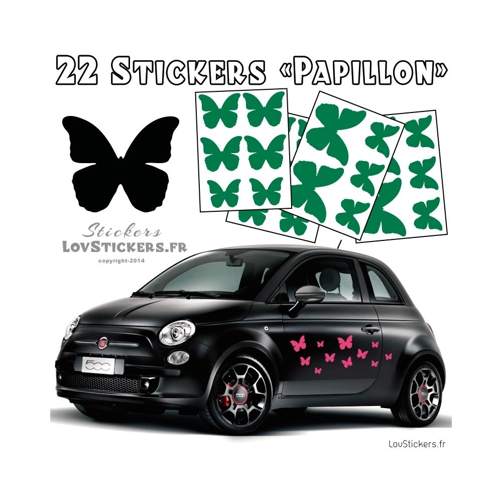 22 Stickers Papillons Mixte - No1 - Deco auto voiture papillons