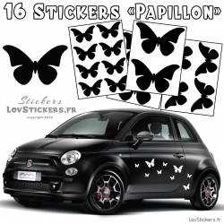 16 Stickers Papillons Deco