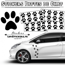 32 Stickers Pattes de Chat Deco Auto