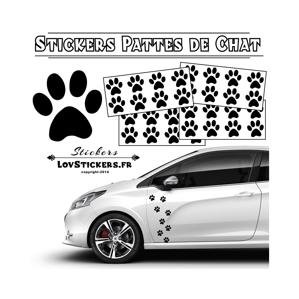 32 stickers pattes de chat autocollant deco auto voiture moto scooter