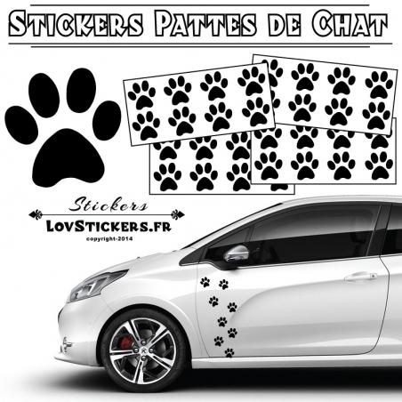 32 Stickers Pattes de Chat Deco Auto