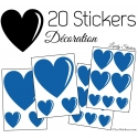 20 Stickers Coeurs - Autocollant décoration maison et pour objets
