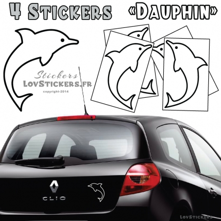4 Stickers Dauphin 14cm