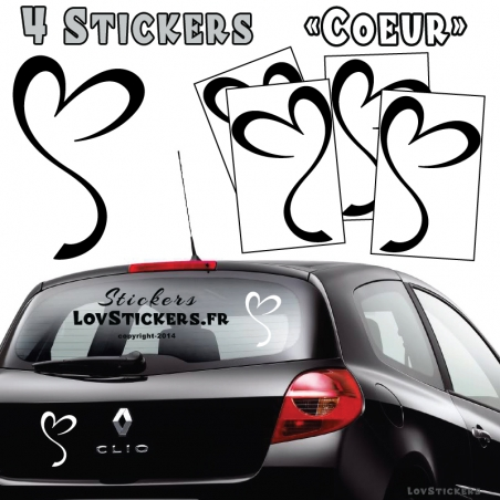 4 Stickers Coeur Deco
