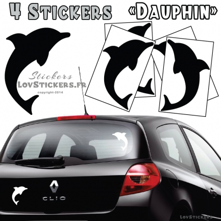 4 Stickers Dauphin 14cm