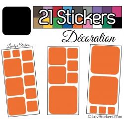 Kit de 21 stickers pour la decoration murs meubles et objets - Repositionnable