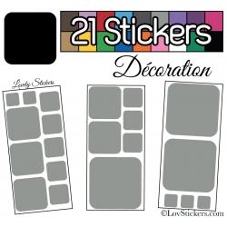 21 Stickers Carrés 8 à 2cm - Autocollant Décoration Intérieur