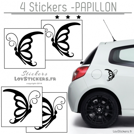 4 Stickers Papillons Mixte Deco