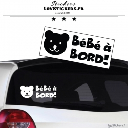 Sticker Bébé à Bord Ours! - Securité enfant voiture