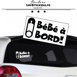 Sticker Bébé à Bord! Epingle - Securité enfant voiture